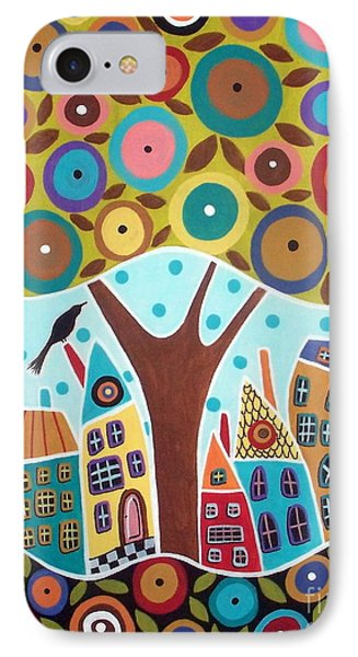 Tree Eight Houses And A Bird IPhone Case by Karla Gerard