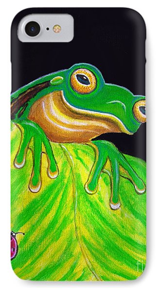 Tree Frog On A Leaf With Lady Bug IPhone Case by Nick Gustafson