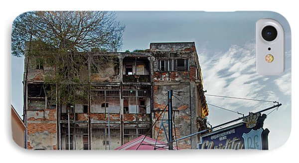 Tree In Building Over La Floridita Havana Cuba IPhone Case by Charles Harden