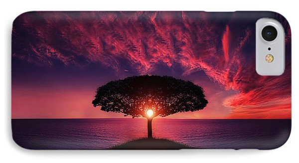 Tree In Sunset IPhone Case by Bess Hamiti