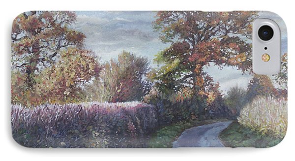 IPhone Case featuring the painting Tree Lined Countryside Road by Martin Davey
