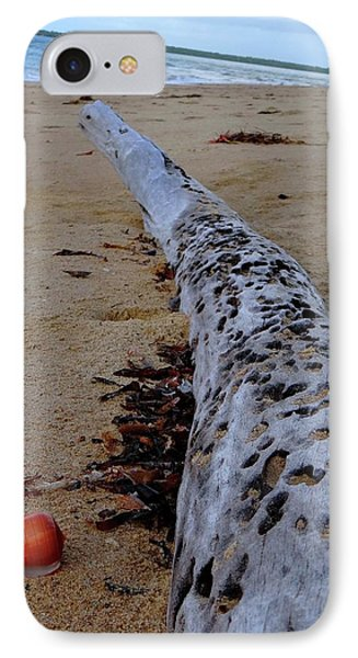 Tree Trunk And Shell On The Beach Full Size IPhone Case by Exploramum Exploramum