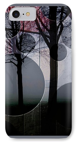 Trees And Circles IPhone Case by Joan Ladendorf