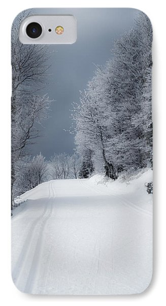 Trees Hills And Snow IPhone Case by Miguel Winterpacht