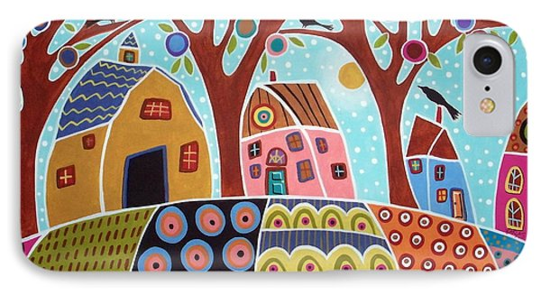 Trees Houses Barn And Birds IPhone Case by Karla Gerard