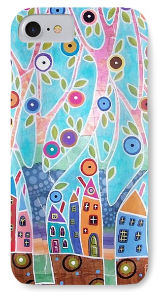 Trees Houses Landscape Phone Case by Karla Gerard