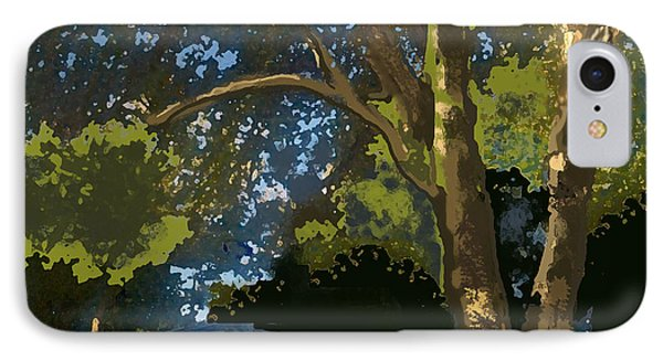 Trees In Park IPhone Case by Walter Chamberlain