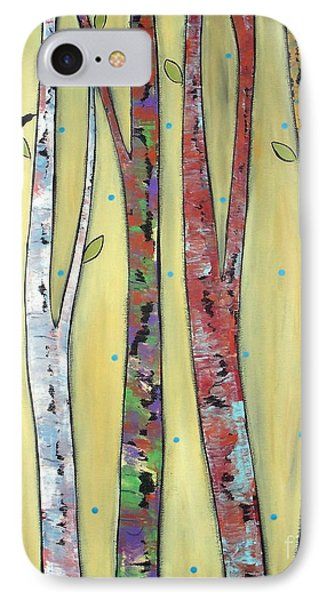 Trees On Yellow Phone Case by Karla Gerard