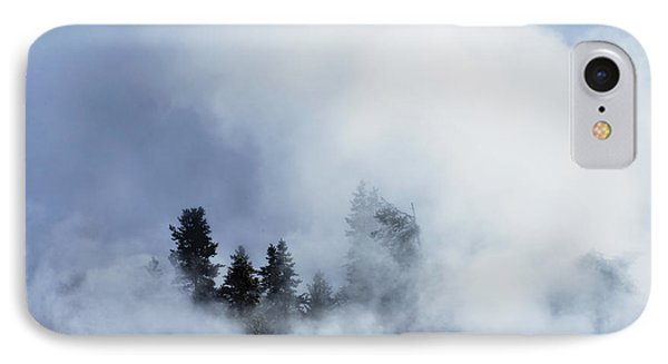 IPhone Case featuring the photograph Trees Through Firehole River Mist by Kae Cheatham