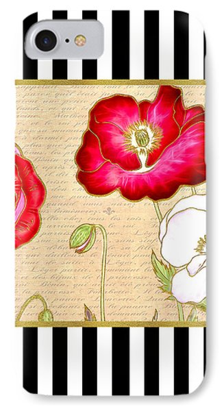 Trendy Red Poppy Floral Black And White Stripes IPhone Case by Tracie Kaska
