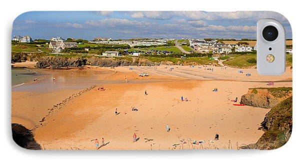 Treyarnon Bay Beach Cornwall England Uk Cornish North  IPhone Case by Michael Charles