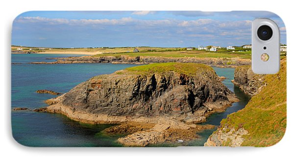 Treyarnon Bay Coast Cornwall England Uk Cornish North Colourful Scene IPhone Case by Michael Charles
