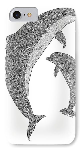 Tribal Bottle Nose Dolphin And Calf Phone Case by Carol Lynne