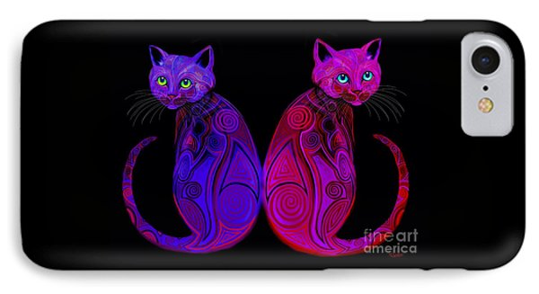 IPhone Case featuring the digital art Tribal Cats by Nick Gustafson