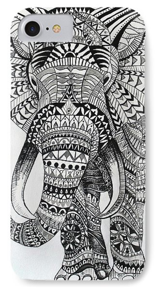 IPhone Case featuring the painting Tribal Elephant by Ashley Price