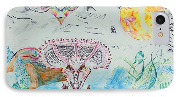 Triceratops Metamorphisis IPhone Case by Contemporary Michael Angelo