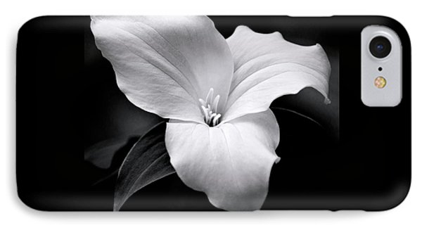 IPhone 7 Case featuring the photograph Trillium Black And White by Christina Rollo