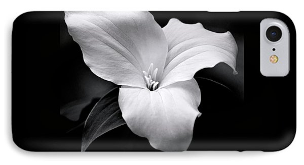 IPhone Case featuring the photograph Trillium Black And White by Christina Rollo