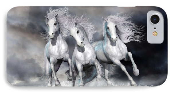IPhone Case featuring the digital art Trinity Galloping Horses Blue by Shanina Conway