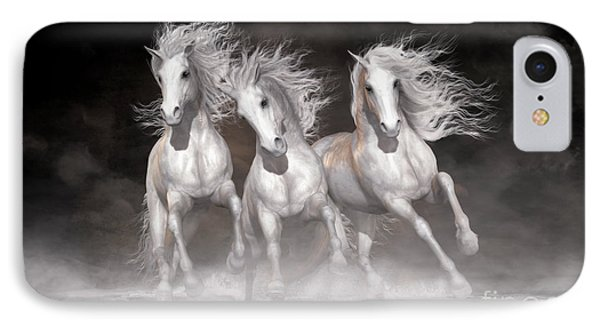 IPhone Case featuring the digital art Trinity Horses Neutrals by Shanina Conway