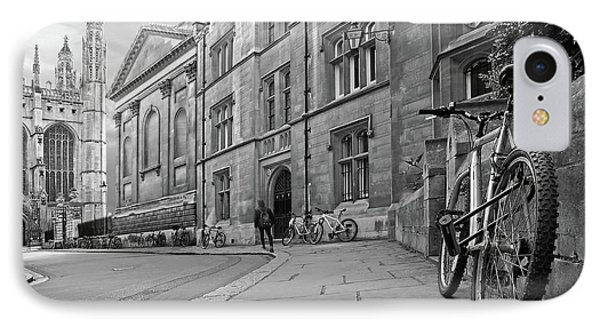 IPhone Case featuring the photograph Trinity Lane Clare College Great Hall In Black And White by Gill Billington