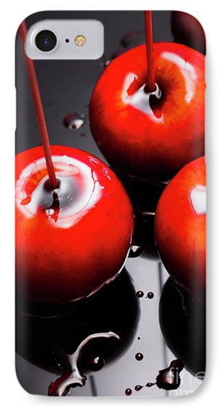 Trio Of Bright Red Home Made Candy Apples IPhone Case by Jorgo Photography - Wall Art Gallery