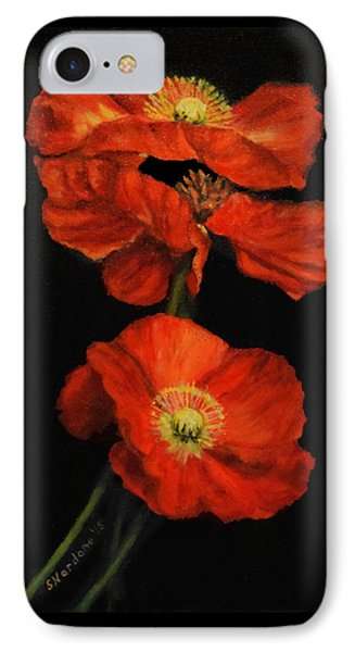 IPhone Case featuring the painting Poppy Trio by Sandra Nardone