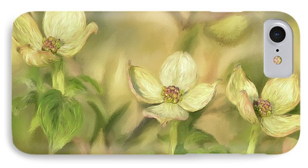 IPhone Case featuring the digital art Triple Dogwood Blossoms In Evening Light by Lois Bryan
