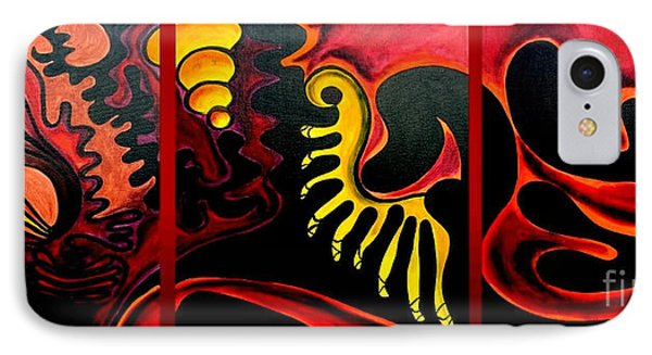 IPhone Case featuring the painting Triptych Abstract Vision by Jolanta Anna Karolska