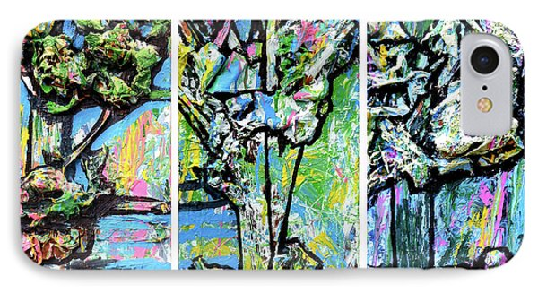 Triptych Of Three Trees By A Brook IPhone Case by Genevieve Esson