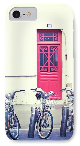 Trois - Three Bicycles In Paris IPhone Case by Melanie Alexandra Price