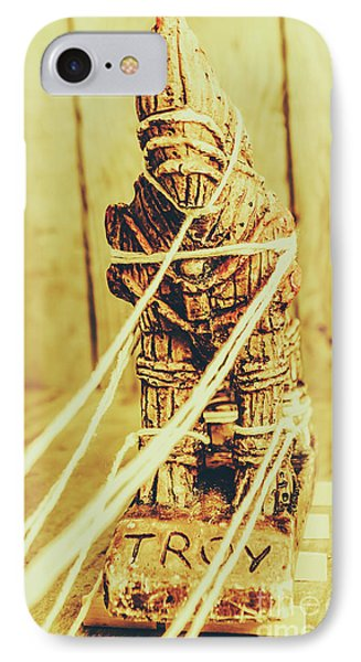 Trojan Horse Wooden Toy Being Pulled By Ropes IPhone Case by Jorgo Photography - Wall Art Gallery