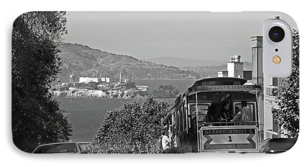 Trolley Descending Into San Francisco Black And White IPhone Case by Toby McGuire