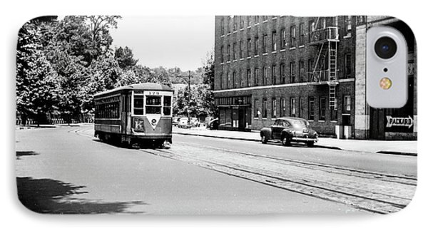 IPhone Case featuring the photograph Trolley With Packard Building  by Cole Thompson