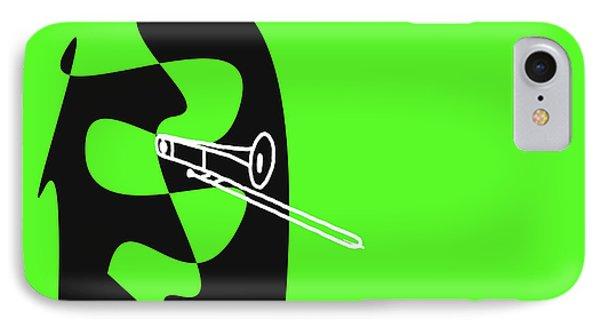 IPhone Case featuring the digital art Trombone In Green by Jazz DaBri