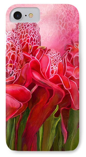 IPhone Case featuring the mixed media Tropic Garden - Torch Ginger by Carol Cavalaris
