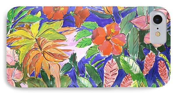 Tropical Flowers IPhone Case by Sally Huss