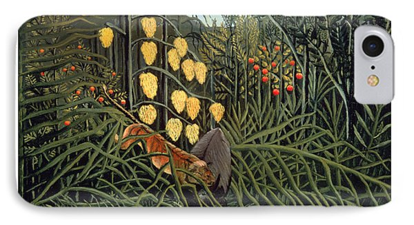 Tropical Forest  Battling Tiger And Buffalo IPhone Case by Henri Rousseau