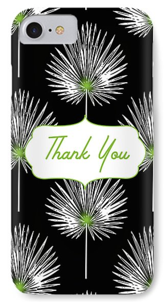 Tropical Leaf Thank You Black- Art By Linda Woods IPhone Case by Linda Woods