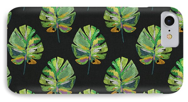 IPhone Case featuring the mixed media Tropical Leaves On Black- Art By Linda Woods by Linda Woods