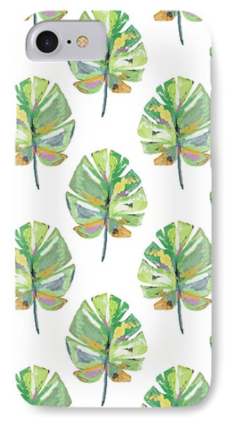 Tropical Leaves On White- Art By Linda Woods IPhone Case