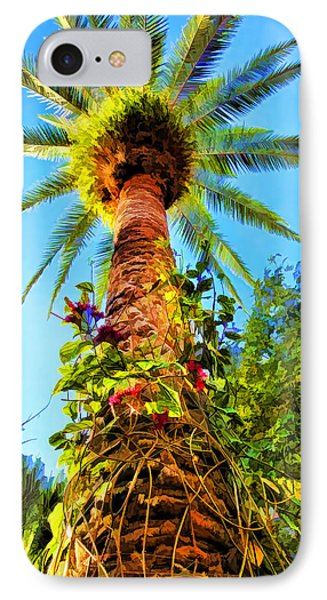 Tropical Palm Tree Painting IPhone Case by Tracie Kaska