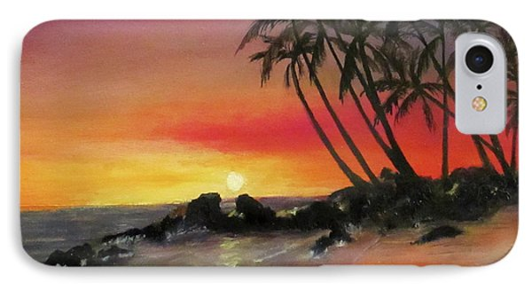 IPhone Case featuring the painting Tropical Sunset by Roseann Gilmore