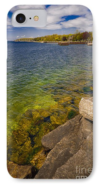 Tropical Waters Of Door County Wisconsin IPhone Case by Mark David Zahn