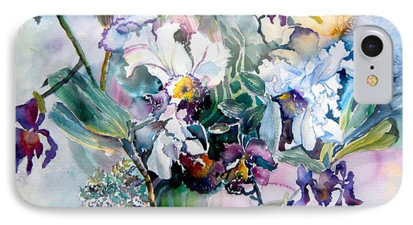 Tropical White Orchids Phone Case by Mindy Newman