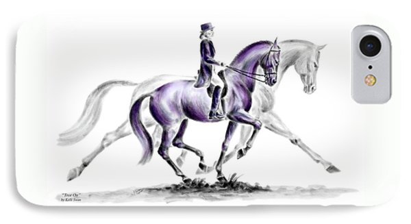Trot On - Dressage Horse Print Color Tinted IPhone Case by Kelli Swan