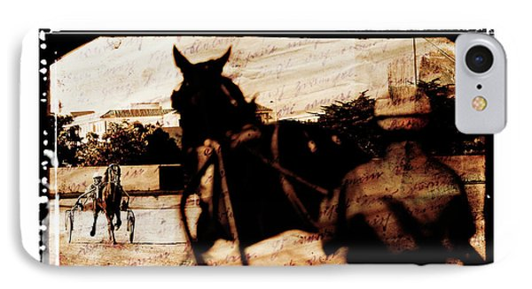 IPhone Case featuring the photograph trotting 1 - Harness racing in a vintage post processing by Pedro Cardona