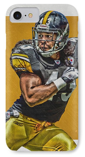 Troy Polamalu Pittsburgh Steelers Art IPhone Case by Joe Hamilton