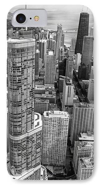 IPhone 7 Case featuring the photograph Trump Tower And John Hancock Aerial Black And White by Adam Romanowicz