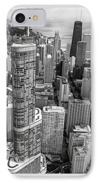 IPhone Case featuring the photograph Trump Tower And John Hancock Aerial Black And White by Adam Romanowicz